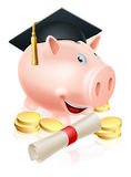 Saving for career piggy bank. Happy piggy bank cartoon with graduation cap and diploma scroll with gold coins. Saving for a career or education Stock Image