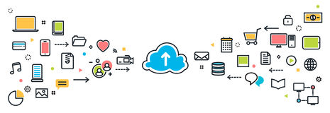 Saving cloud service with icons long background for website bann Royalty Free Stock Photo