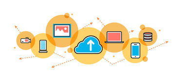 Saving cloud service website banner and header in circle royalty free illustration