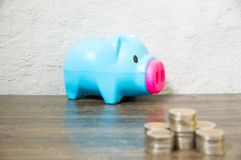 Saving from collecting small coins royalty free stock image