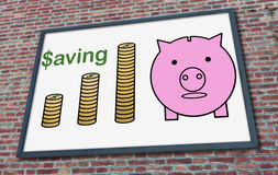 Saving concept on a billboard. Saving concept drawn on a billboard fixed on a brick wall Royalty Free Stock Image