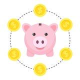 Piggy Bank Saving Concept Flat Icon Stock Photo