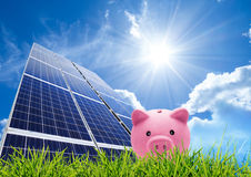 Saving concept with photovoltaic Royalty Free Stock Photo