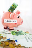 Saving concept. Piggy bank with an inscription education. Stock Image