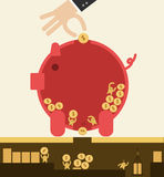 Put coin in piggy bank but got stolen. Corruption. Put coin in piggy bank but got stolen. Saving concept Royalty Free Stock Images