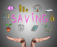 Saving concept sustained by open hands Stock Image