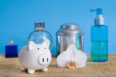 Saving on cosmetics - set on blue background Royalty Free Stock Photo