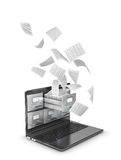 Saving data in the network, archives. Flying documents from a laptop. Stock Image