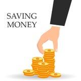 Saving dollar coin. concept vector illustration Flat design style vector illustration. Saving money. Saving dollar coin. concept vector illustration Royalty Free Stock Photography