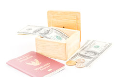 Saving by dollar and coin for travel. Royalty Free Stock Images