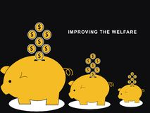 Saving on Piggy Bank vector illustration