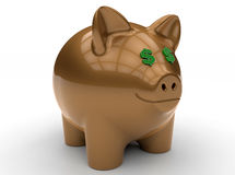 Saving dollars - piggy bank. 3D render illustration of the concept of saving dollars. The piggy bank has dollar eyes and the whole composition is isolated on a Stock Image