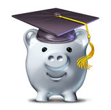 Saving for an education. Represented by a graduation school mortar board and a savings piggy bank Royalty Free Stock Photos