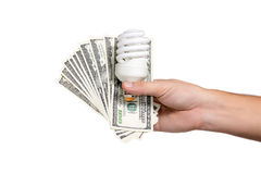 Saving energy bulb with money Royalty Free Stock Photos