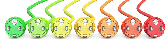 Saving energy consumption concept, row from colored plugs. 3D re Royalty Free Stock Photos