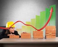 Saving and energy efficiency. Woman architect currency savings and energy efficiency royalty free stock photos