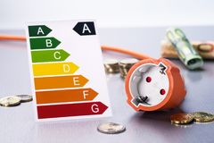 Saving energy and electricity costs. Socket with energy label and money Royalty Free Stock Photo