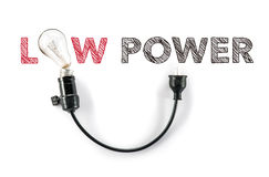 Saving energy, low power light bulb, hand writing Stock Image