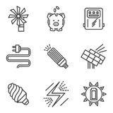 Saving energy simple icons set Stock Photo