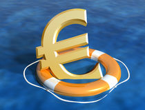 Saving the euro. Illustration of the sinking euro being saved Stock Photos