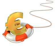 Saving euro with lifebuoy Royalty Free Stock Photography