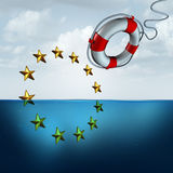 Saving The European Union. And Eu euro protection as a political and economic crisis insurance concept as a life buoy or saver saving the Europe flag stars with Royalty Free Stock Image