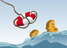 Saving euros. Abstract vector illustration of some euros being rescued by a life-line Stock Image