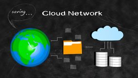 Saving Files in the Cloud Network. Concept. Based in Blackboard Style Stock Image