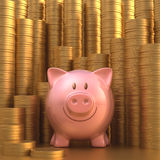 Saving Gold Coin. Piggy bank with stacks of gold coins in the background Royalty Free Stock Photo