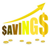 Saving graph grow coin Stock Photography