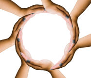 Saving hands circle Royalty Free Stock Photography