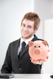 Saving has never been easier with my special piggybank! Stock Images