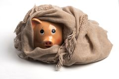 Saving Heating Costs. Piggy Bank Wearing Scarf, Isolated on White Background.Saving Heating Concept Stock Image