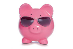 Saving for a holiday piggy bank Royalty Free Stock Image