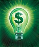 Saving Idea. Digital concept of Saving Money illustrated with an illuminated light bulb and money symbol Stock Photos
