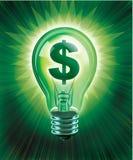 Saving Idea. Digital concept of Saving Money illustrated with an illuminated light bulb and money symbol stock illustration
