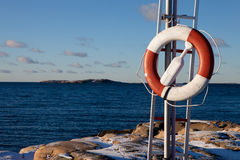 Saving lives. Swedish coast in winter showing lifesaving equipment Royalty Free Stock Image