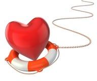 Saving love marriage relationship - heart on lifebuoy. Saving love marriage relationship 3d concept - heart on lifebuoy Stock Photo