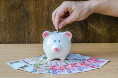 Saving, male hand putting a coin into piggy bank and money Royalty Free Stock Photos