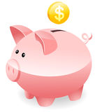 Saving money. Piggy Bank with gold coin stock illustration