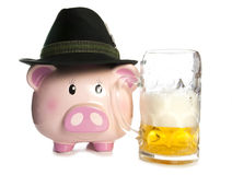 Saving money at a beer festival piggy bank Stock Photography