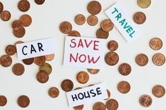 Saving money for the best life concept. Coins and signs travel, car, house, save now. Saving money for dream concept. Coins and signs travel, car, house, save stock photos