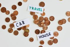 Saving money for the best life concept. Coins and signs travel, car, house. Saving money for dream concept. Coins and signs travel, car, house on white stock photo