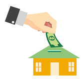 Saving money for buy home concept vector design. Royalty Free Stock Images