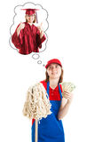 Saving Money For College. Teenage girl works manual labor job to save money for college.  Isolated on white Stock Photo