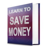 Saving money concept. Illustration depicting a book with a saving money concept title. White background Stock Photos