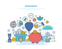 Saving money concept. Accumulation, financial security, investments, savings, bank deposits. Saving money concept. Accumulation, financial security, investments Royalty Free Stock Photo