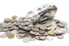 Saving money concept of collecting coins in glass bottle Isolate Royalty Free Stock Photography