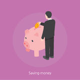 Saving money concept design 3d isometric  illustration Stock Photography