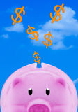Saving Money Concept. Financial, saving money concept, pink piggy bank on blue sky background stock images